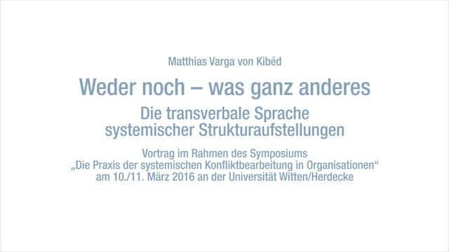 Die transverbale Sprache systemischer Strukturaufstellungen