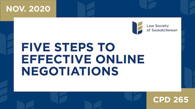 CPD 265 - Five Steps to Effective Onl...