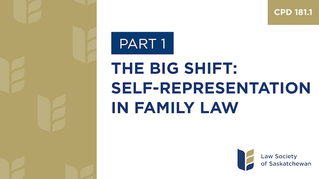 CPD 181 - Responding to Increasing Self-Representation in Family Law (Part 1)
