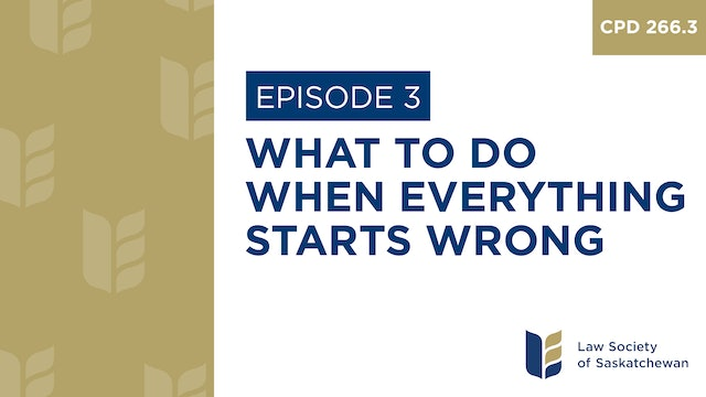 [E3] What to Do When Everything Starts Wrong (CPD 266.3)