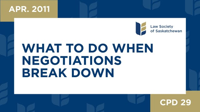 CPD 29 What to do When Negotiations B...