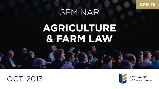 CPD 75 - Focus on Agriculture and Farm Law