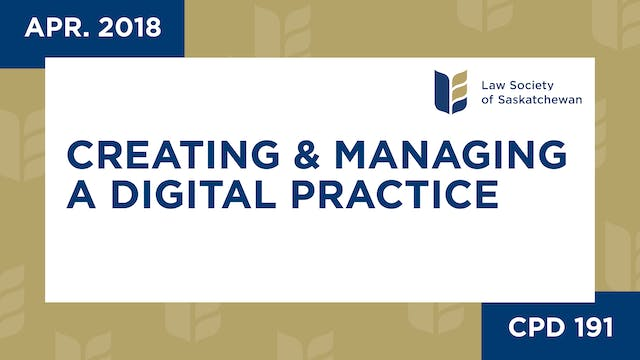 CPD 191 - Creating and Managing a Dig...