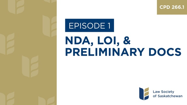 [E1] NDA, LOI, and Preliminary Docs (CPD 266.1)
