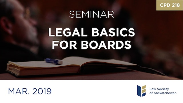 CPD 218 - Legal Basics for Boards