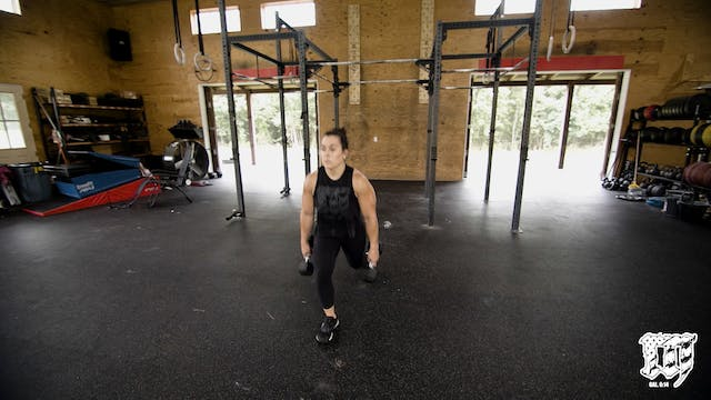 Double DB Step Back Lunge Farmers
