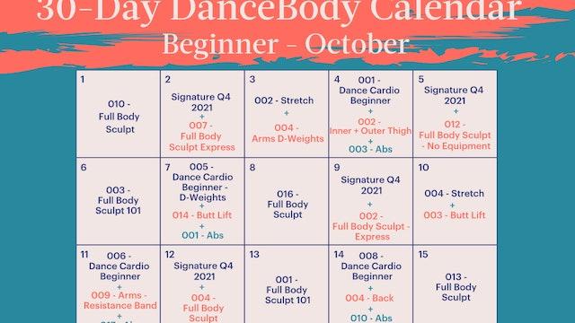30-Day Calendar Beginner: October
