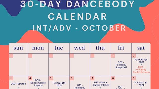 30-Day Calendar Int/Adv - October