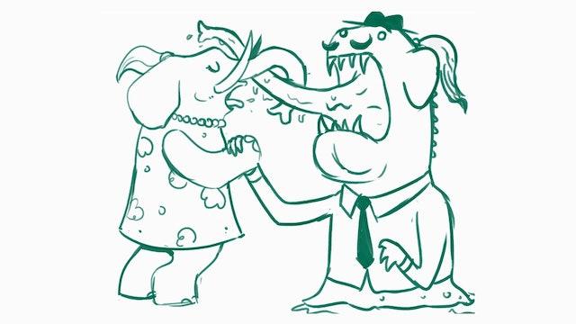 Morning Drawfee - French Kissing Elephants