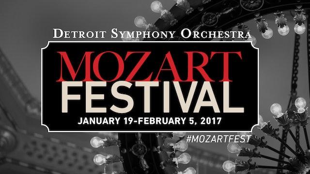 Artwork for 2017 Mozart Festival: Prague and Jupiter symphonies, plus Flute & Harp