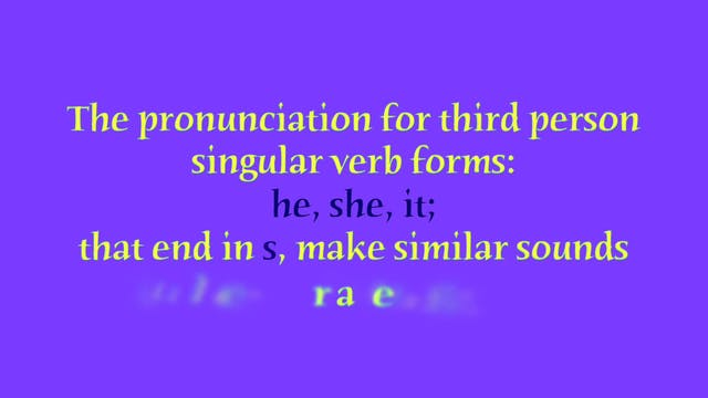 "A1.L6 Third Person Singular ""s"" endings Pronunciation"