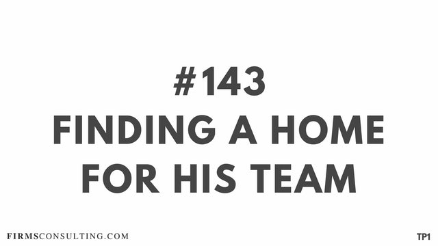 143 112.15 TP1 Finding a home for his team