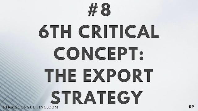 8 RP 6th Insight. The export strategy