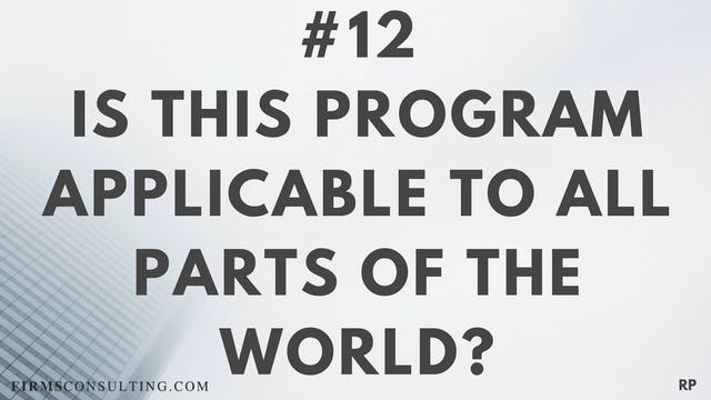 12 RP Is this program applicable to all parts of the world?