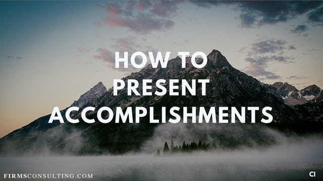 325 FCI  How to present accomplishments