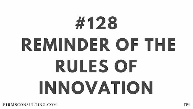 128 111 TP1 Reminder of the rules of Innovation