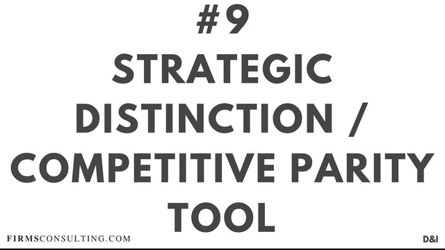 9 D&IT Strategic distinction : competitive parity tool