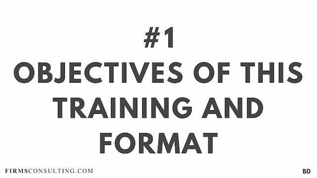 1 BD Objectives of this series and format