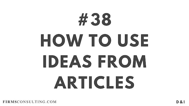38 D&I How to use ideas from articles