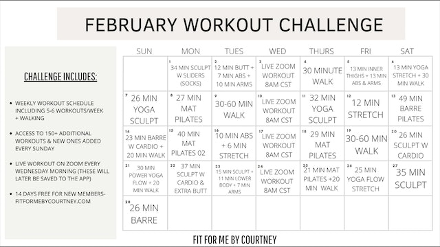 FEBRUARY WORKOUT CHALLENGE