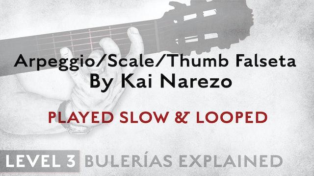 Bulerias Explained - Level 3 - ArpegScaleThumb Falseta by Kai Narezo - SLOW/LOOP