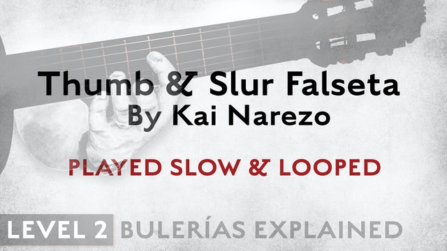 Bulerias Explained - Level 2 - Thumb & Slur Falseta by Kai Narezo - SLOW/LOOPED