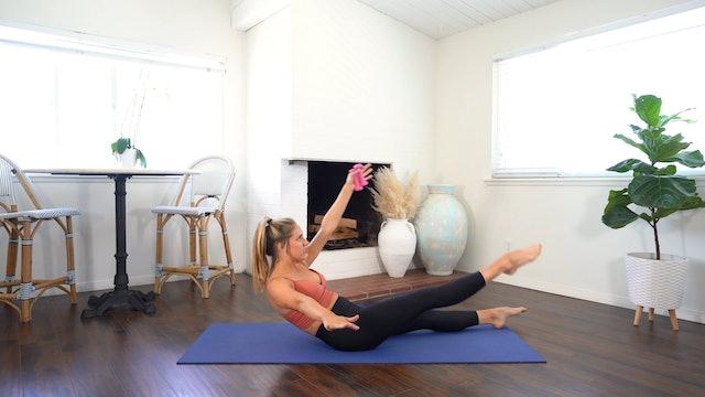 Full Body Flow, Upper Body Focus (Props: 27 min, 1-2 weights)