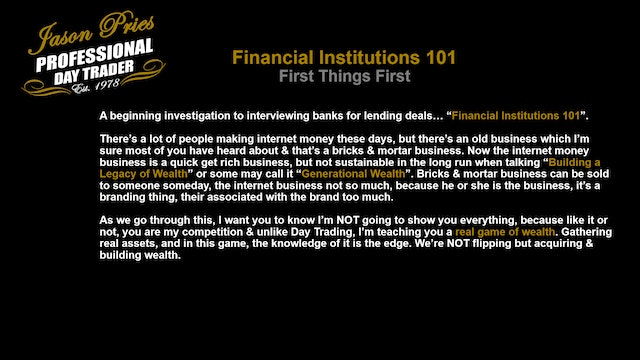 Financial Institutions 101 - First Things First