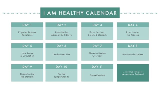 I AM HEALTHY Sadhana Series Calendar