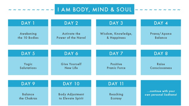 I AM BODY, MIND & SOUL Sadhana Series Calendar
