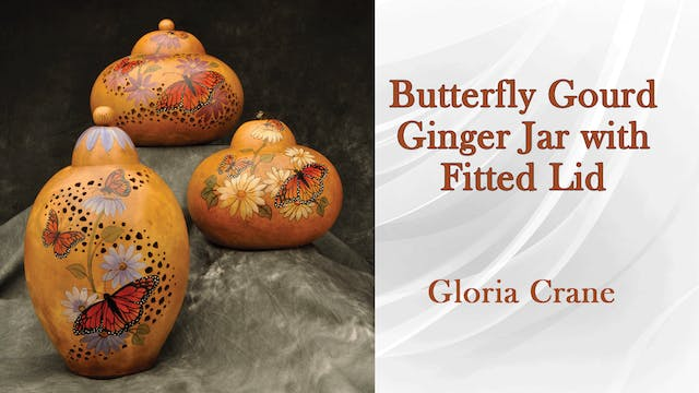 Butterfly Gourd Ginger Jar with Fitted Lid with Gloria Crane