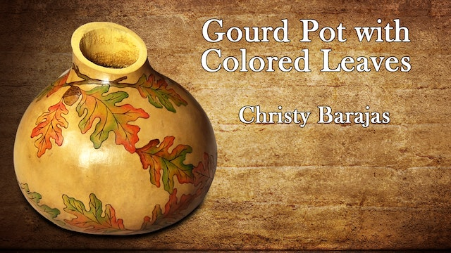 Gourd Pot with Colored Leaves