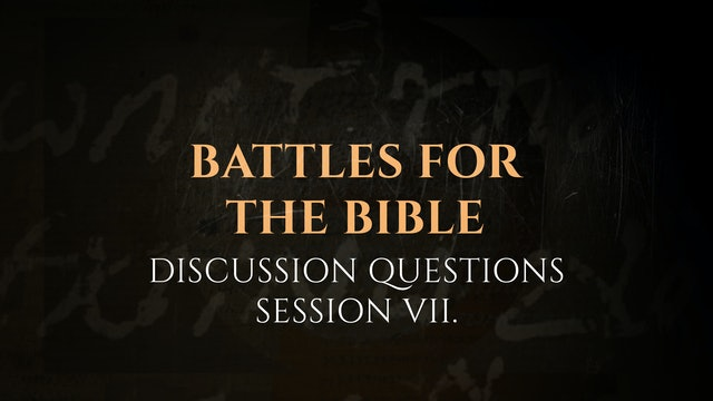Session 7 - Discussion Questions: The God Who Speaks