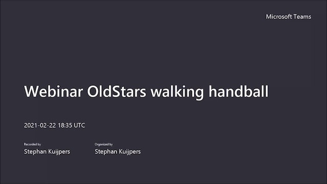 Webinar Old Stars walking handball