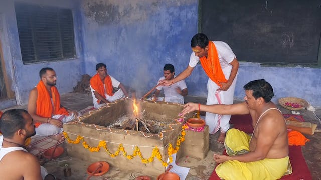 Churning of Fire at a Vedic Fire Cere...