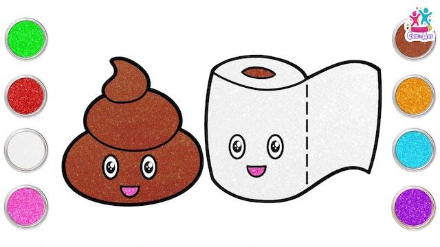 Chiki Art - Poop Emoji and Toilet Paper