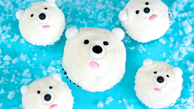 Mini Polar Bear Cupcakes