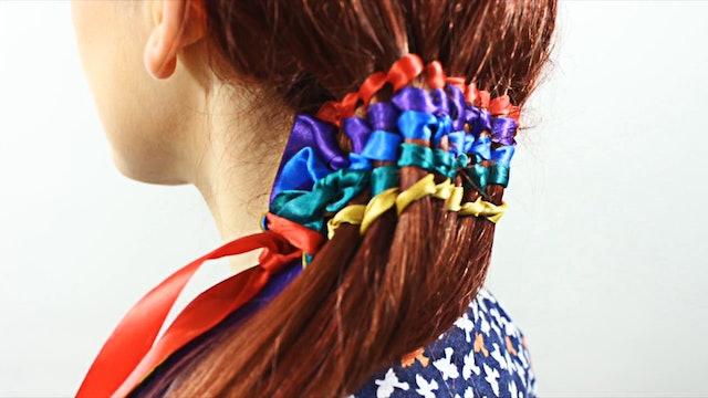 Rainbow Waterfall Ribbon Twists Hairstyle