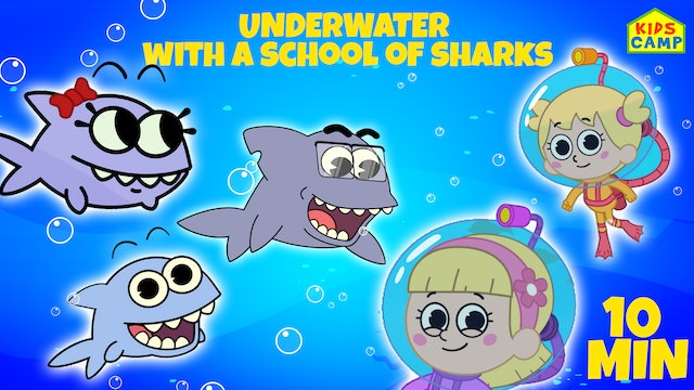 Underwater With A School Of Sharks