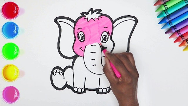 How to Draw & Color A Elephant