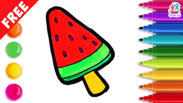 Chiki Art -  How to Draw A Watermelon Popsicle