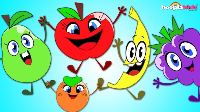 Five Cute Fruits Jumping On The Bed