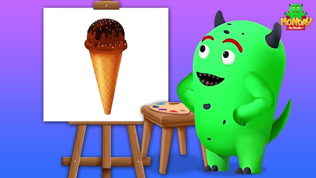 Monday The Monster - Learn Colors With Ice Cream Painting