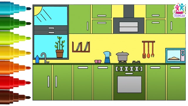 Chiki Art - How to Draw A Kitchen