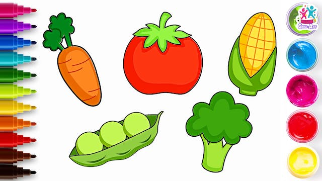 How To Draw Vegetables & Fruits