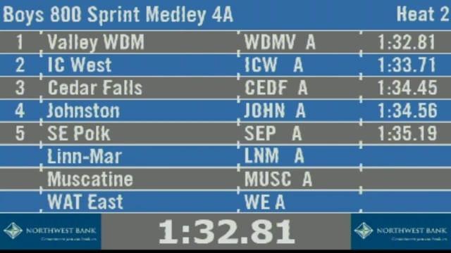 Boys 800 Sprint Medley Relay 4A Finals Section 2