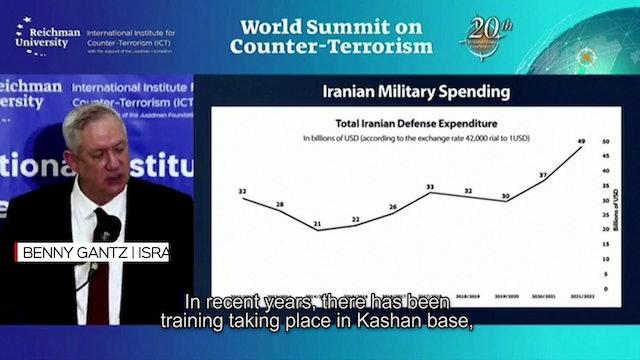 Gantz accuses Iran of training and arming terrorist groups with UAVS