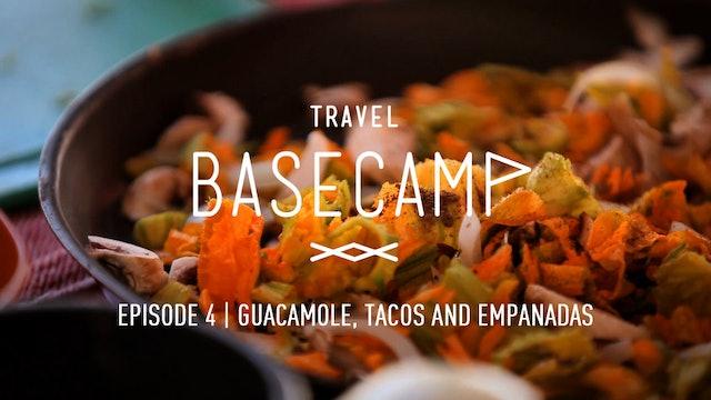 Guacamole, tacos and empanadas