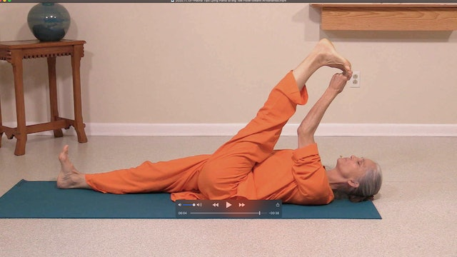 Hatha Yoga Tips: Lying Hand to Big Toe Pose with Swami Arivananda