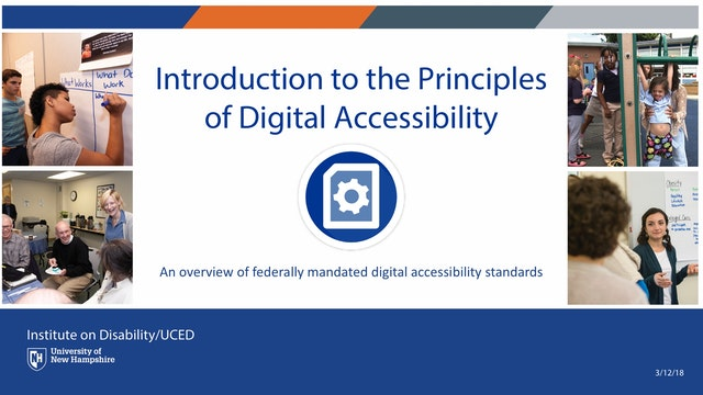 Introduction to the Principles of Digital Accessibility Webinar